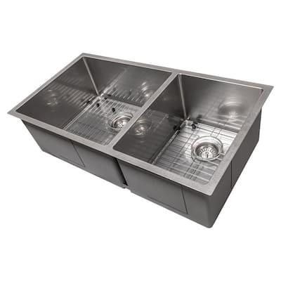ZLINE Chamonix 36 Inch Undermount Double Bowl Sink in DuraSnow® Stainless Steel (SR60D-36S)