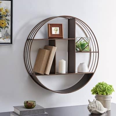 27.5 x 6 x 27.5 in. Round Metal Bronze Brody Industrial Circular Shelf