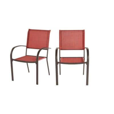 Mix and Match Stationary Stackable Steel Split Back Sling Outdoor Patio Dining Chair in Conley Chili Red (2-Pack)
