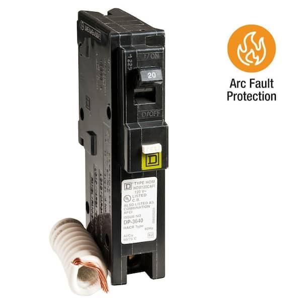 HOM120PCAFI Square D  Breaker 20 Amps 120 Volts 1 Pole Arc-Fault Breaker