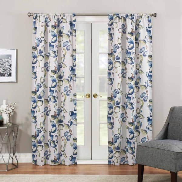 Eclipse Multi Colored Floral Rod Pocket Blackout Curtain 37 In W X 84 In L 16002037084mul The Home Depot