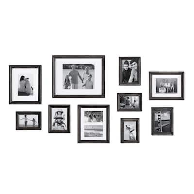 Bordeaux Distressed Black Picture Frames (Set of 10)