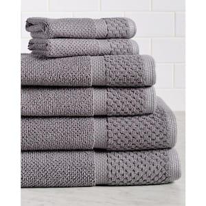 Diplomat 6-Piece Gray Solid Cotton Bath Towel Set