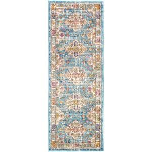 Claire Blue 2 ft. 7 in. x 7 ft. 3 in. Runner Medallion Area Rug