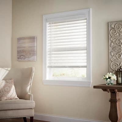 White Cordless Room Darkening 2.5 in. Premium Faux Wood Blind for Window - 22.5 in. W x 64 in. L