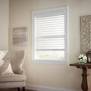 White Cordless Room Darkening 2.5 in. Premium Faux Wood Blind for Window - 58.5 in. W x 64 in. L
