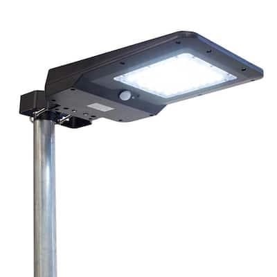 Solar Powered Black 1600 Lumens Motion Activated Outdoor Integrated LED Landscape Flood Light