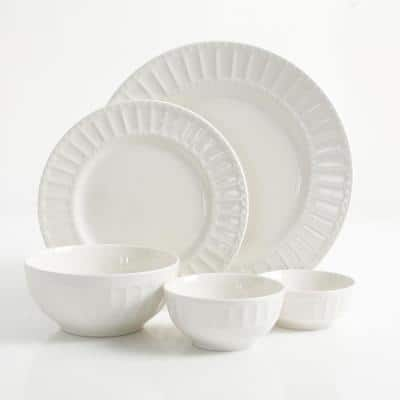 Melbourne 40-Piece Embossed White Ceramic Dinnerware Set (Service for 8)