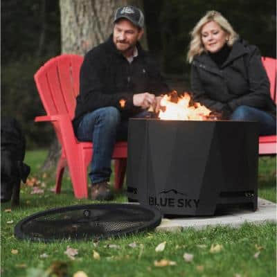 The Peak 24 in. x 16 in. Round Steel Wood Patio Fire Pit with Spark Screen and Screen Lift