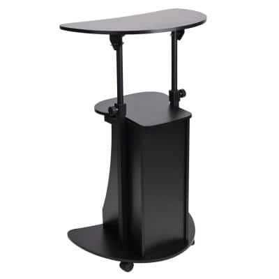 28 in. to 48.62 in. Oval Black Wood Adjustable Standing Desk with Wheels