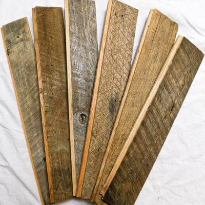 5/8 in. T x Varying W 3 in.,4 in.,5 in. x Varying L to 12 in. Brown/Gray Weathered Wood Shiplap Plank (4 sq. ft./Pack)