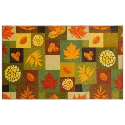 SQUARE FALL LEAVES MULTI 2 ft. x 3 ft. 4 in. Scatter Area Rug