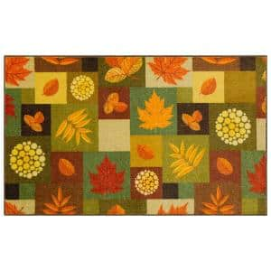SQUARE FALL LEAVES MULTI 2 ft. 6 in. x 4 ft. 2 in. Scatter Area Rug