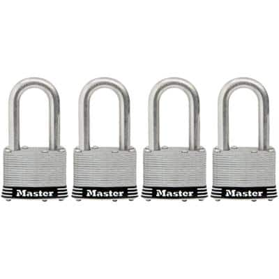 1SSQLF Stainless Steel Outdoor Padlock with Key, 4-Pack Keyed-Alike