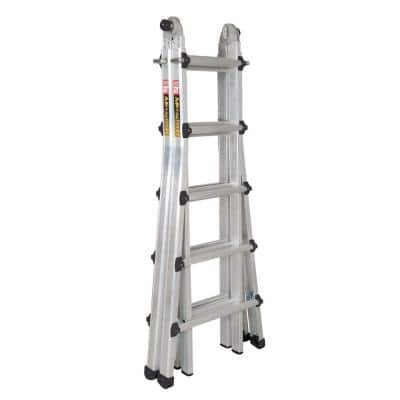 22 ft. Reach Aluminum Telescoping Multi-Position 5-in-1 Indoor/Outdoor Ladder for Extensions, 300 lbs. Load Capacity