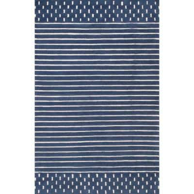 Marlowe Stripes Navy 5 ft. x 8 ft.  Area Rug