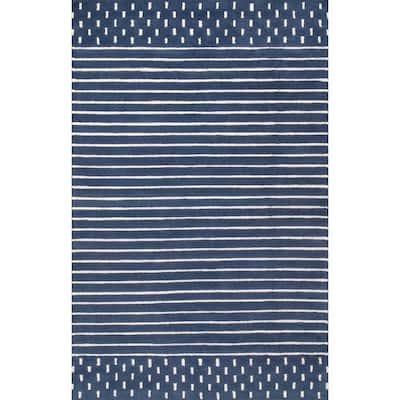 Marlowe Stripes Navy 5 ft. x 8 ft. Area Rug
