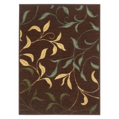 Ottohome Collection Contemporary Leaves Design Brown 2 ft. 3 in. x 3 ft. Area Rug