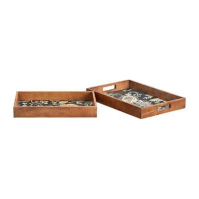 Floral and Wood Decorative Rectangle Tray (Set of 2)