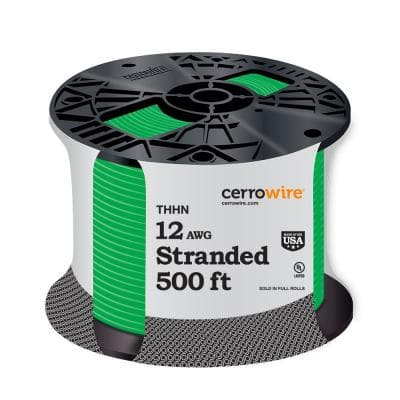 500 ft. 12/1 Green Stranded THHN Wire