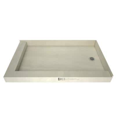Redi Base 30 in. x 54 in. Double Threshold Shower Base with Right Drain and Polished Chrome Drain Plate