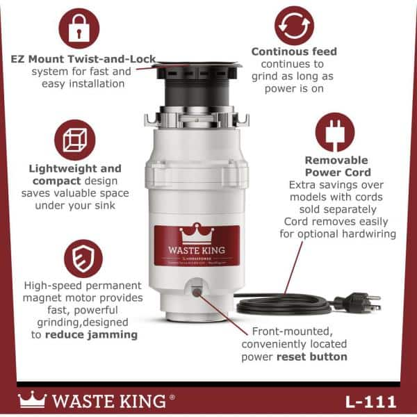 Waste King Legend Series 1//3 HP Continuous Feed Garbage Disposal with Power Cord