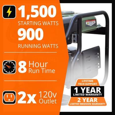 1,500-Watt/900-Watt Recoil Start Gasoline Powered Portable Generator