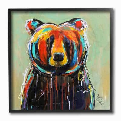 """12 in. x 12 in. """"Abstract Colorful Painted Black Bear"""" by Karrie Evenson Framed Wall Art"""