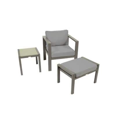 Lakeview Aluminum Outdoor Lounge Chair Set with Charcoal Cushion with Ottoman and Side Table