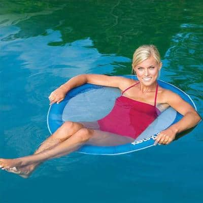 Blue Float a Round Adult Swimming Pool Floating Chair up to 250 lbs. (4-Pack)