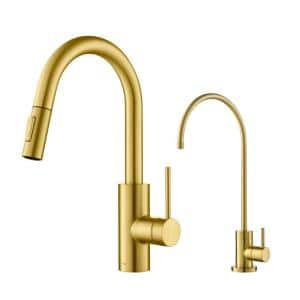 Oletto 1-Handle Pull-Down Kitchen Faucet and Purita Water Filtration Faucet in Brushed Brass