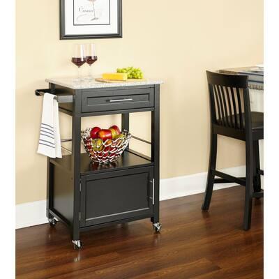 Morgan Black Kitchen Cart with Granite Top