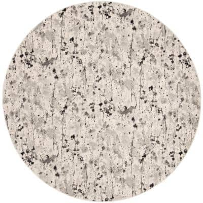 Evoke Ivory/Gray 7 ft. x 7 ft. Round Abstract Area Rug