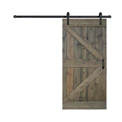 42 in. x 84 in. K-SeriesAged Barrel/FinishKnotty Pine Wood Sliding Barn Door with Hardware Kit