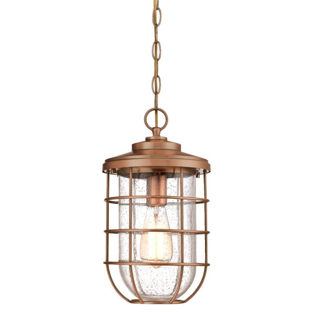 Westinghouse Ferry 1 Light Washed Copper Outdoor Hanging Pendant 6348100 The Home Depot