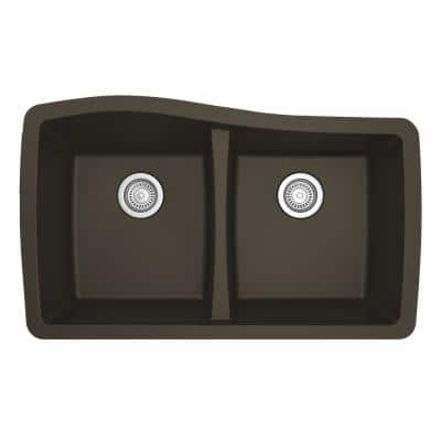 Undermount Quartz Composite 33 in. 50/50 Double Bowl Kitchen Sink in Brown
