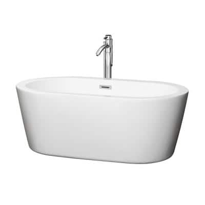 Mermaid 60 in. Acrylic Flatbottom Center Drain Soaking Tub in White with Floor Mounted Faucet in Chrome