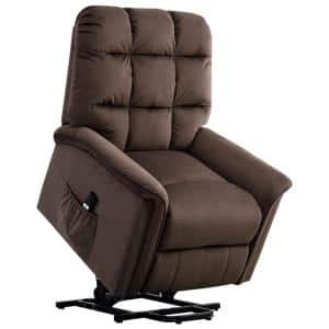 33 in. Width Big and Tall Chocolate Microfiber Lift Recliner