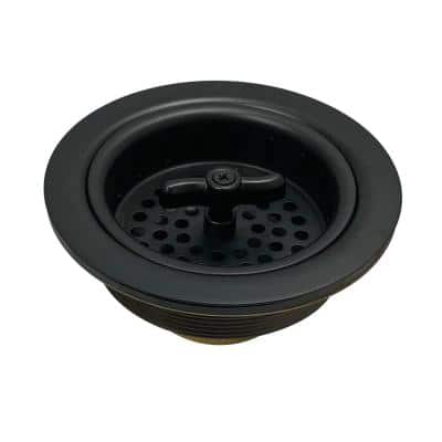 Tacoma 4-1/2 in. Stainless Steel Spin and Seal Sink Basket Strainer in Matte Black