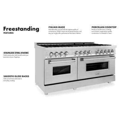 60 in. 7.4 cu. ft. Dual Fuel Range with Gas Stove and Electric Oven in DuraSnow Stainless Steel