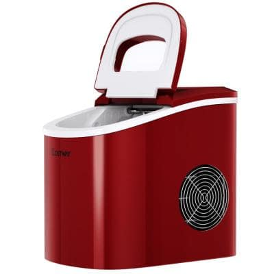 14 in. 26 lbs. Portable Compact Electric Ice Maker Machine Mini Cube in Red