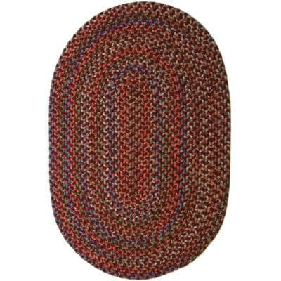 Kennebunkport Burgundy Multi 8 ft. x 11 ft. Oval Indoor/Outdoor Braided Area Rug