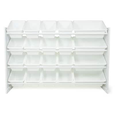 "Cambridge 31.5"" Engineered Wood White Extra Large Toy Storage Organizer with 20 Plastic Storage Bins"