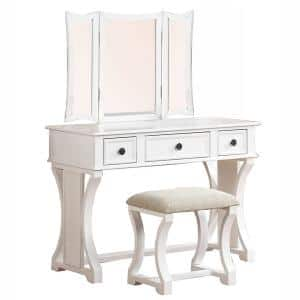 Modish White Wooden Vanity Set Featuring Stool and Mirror