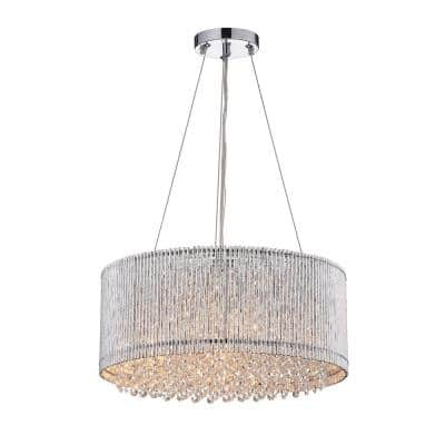 Pamina 4-Light Chrome Chandelier with Drum Shade and Hanging Crystals