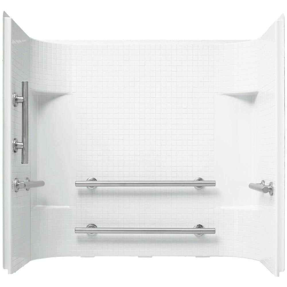 Sterling Accord 60 In X 36 In X 55 125 In 3 Piece Direct To Stud Bath Shower Surround In White With Nickel Grab Bars 71164103 N 0 The Home Depot