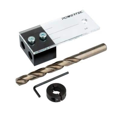 1/2 in. Dowel Drilling Jig with Cobalt M-35 Drill Bit and Split Ring Stop Collar (1-Set)