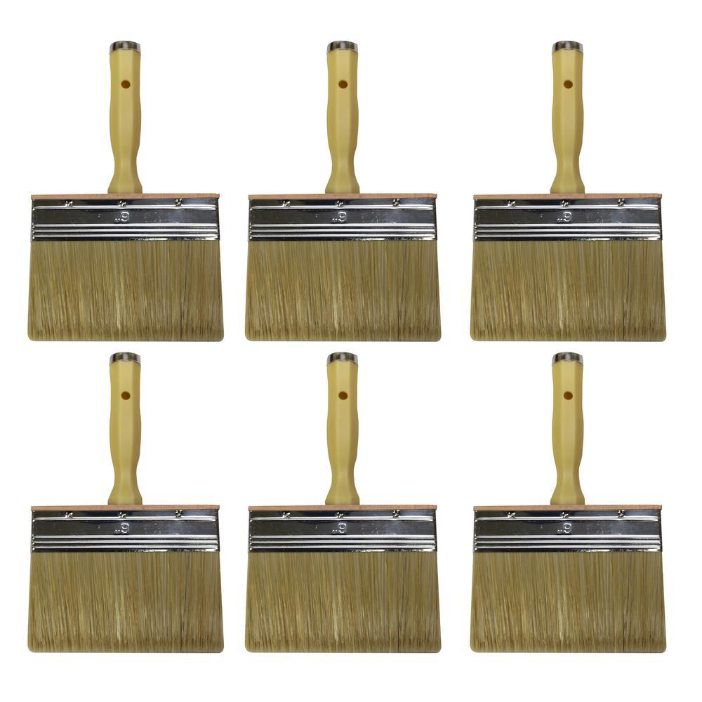 6 in. Flat Stain Block Brush (6-Pack)