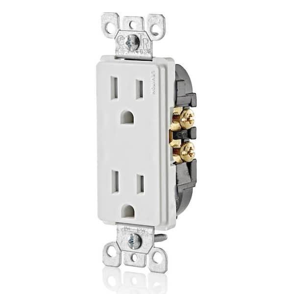 Leviton Decora 15 Amp Tamper Resistant Duplex Outlet White 10 Pack M22 T5325 Wmp The Home Depot