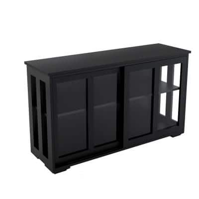 41.92 in.W Black Kitchen Storage Stand Cupboard Sideboard With Glass Door